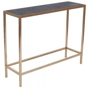 Console Table, Marble Top, Gold