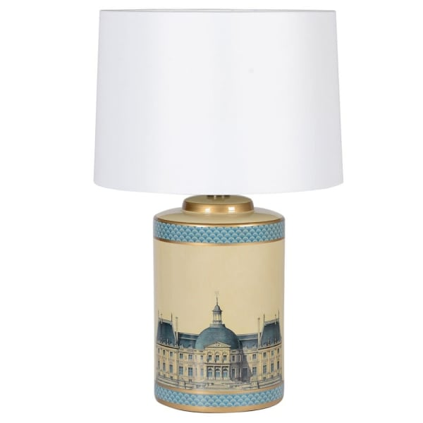 Parisian Table Lamp in Cream and Blue White Shade